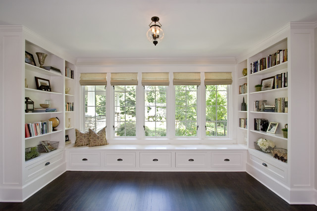 Library with Window Seat traditional-family-room