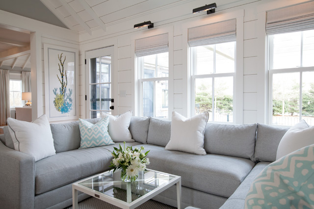 Light and bright while honoring gray beach-style-family-room