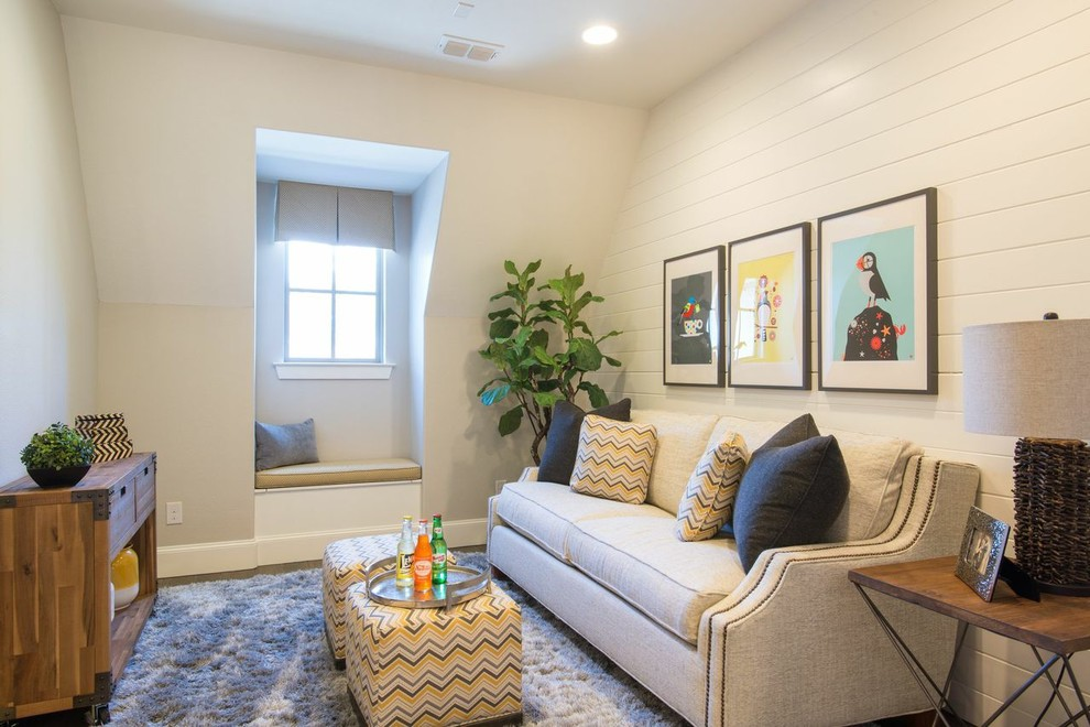 Example of a small classic dark wood floor family room design in Dallas with gray walls