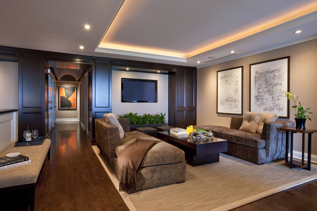 Inspiration For A Contemporary Family Room Remodel In Chicago With Beige Walls Dark Wood Floors