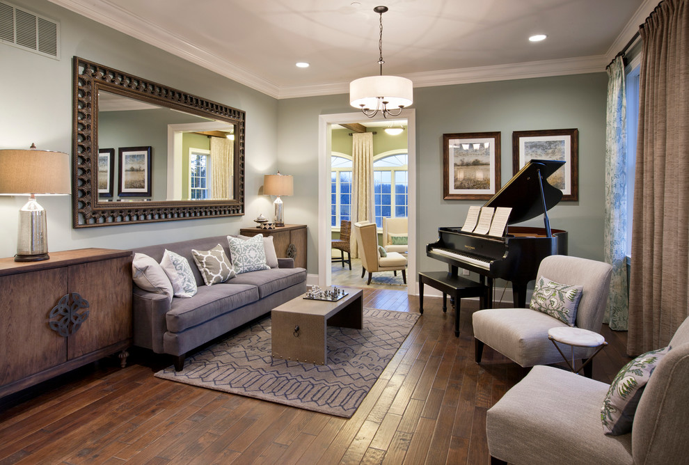 Inspiration for a timeless dark wood floor family room remodel in Philadelphia with no tv and gray walls