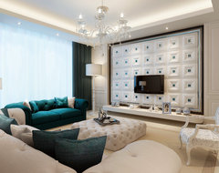 Living Room - Accent Faux Leather Wall - Crystal Palace contemporary-family-room