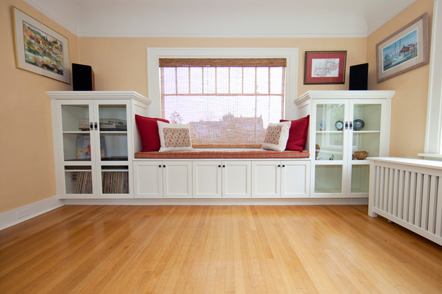 Living Room Built In Display Case With Window Seat