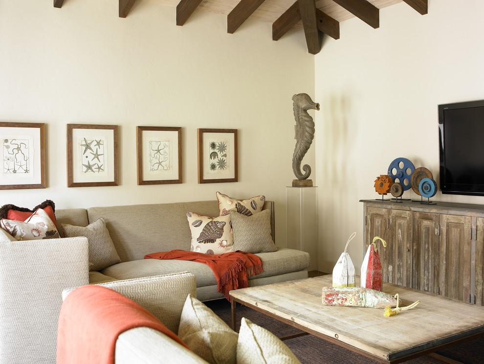 Family room - coastal family room idea in Atlanta with beige walls