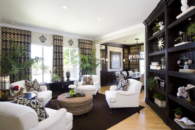 living room dining room with modern traditional styling