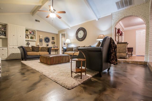 Living room metallic epoxy floor coating modern living for Concrete floor living room ideas