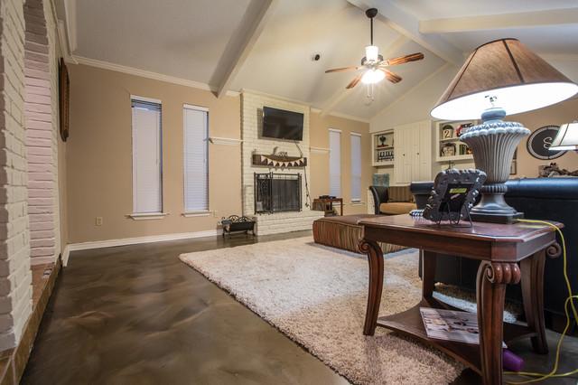 Living Room Metallic Epoxy Floor Coating Rustic Family And Games