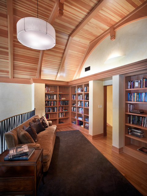 Living Room Like A Library: Living Room To Second Floor Library