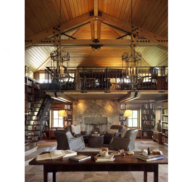 Living room w  mezzanine traditional family room