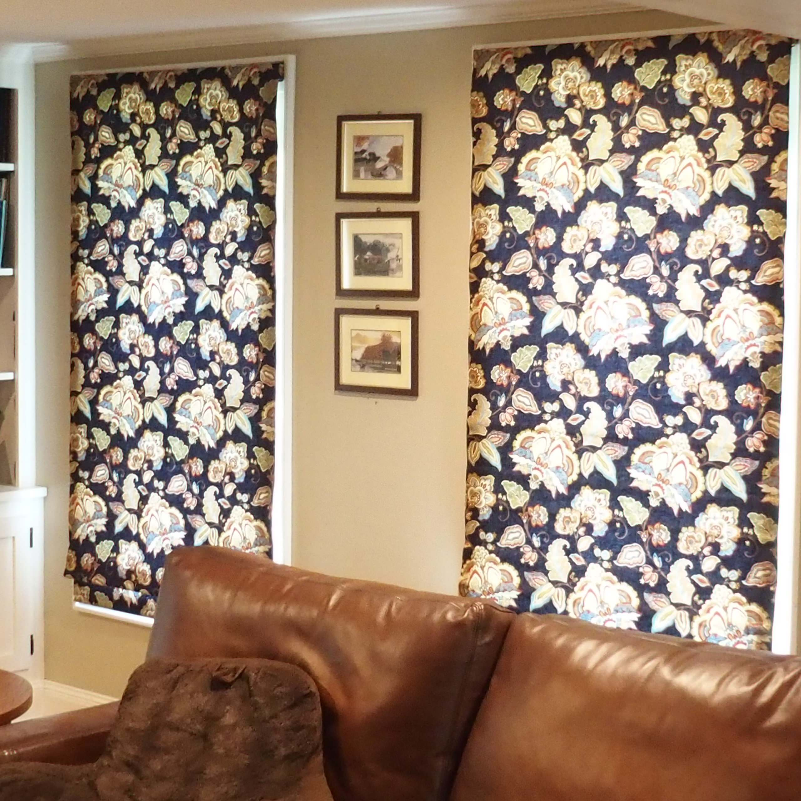Living Room with indigo blue print Roman shades