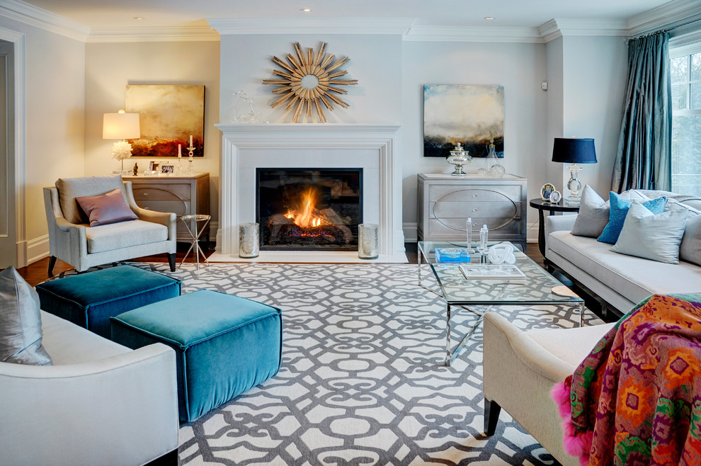 Trendy family room photo in Toronto with gray walls and a standard fireplace