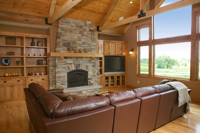 Lodge Great Room & Fireplace rustic-family-room