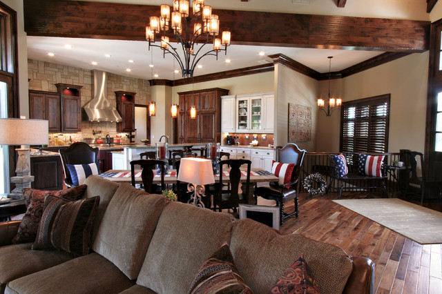 Lodge Inspired Residence - Open Concept Kitchen, Dining, Living Room - Rustic - Family Room ...