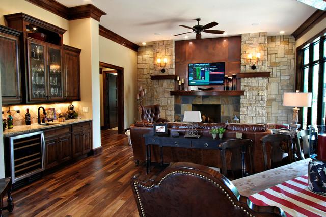 Lodge Inspired Residence Open Concept Kitchen Dining Living Room Rustikal Wohnzimmer Kansas City Von Nspj Architects Houzz