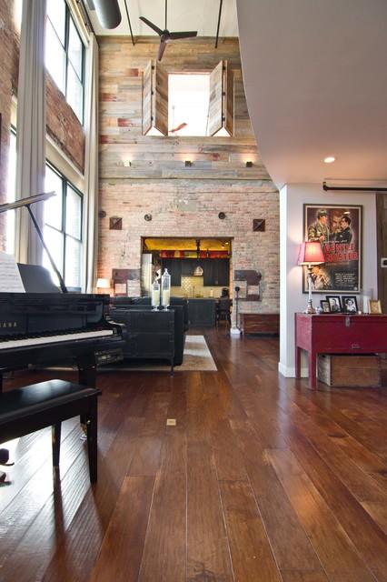 Loft Condo Renovation Industrial Family Room Chicago