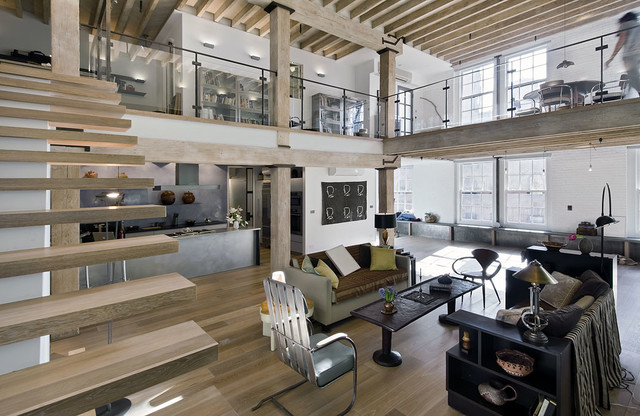 loft renovation industrial family room new york by valerie j boom design. Black Bedroom Furniture Sets. Home Design Ideas