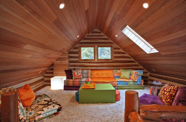 a frame attic bedroom ideas - Log Cabin Eclectic Family Room dc metro by Barbara