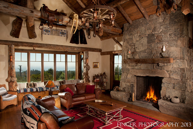 Log Cabin Living Room Traditional Family Room San
