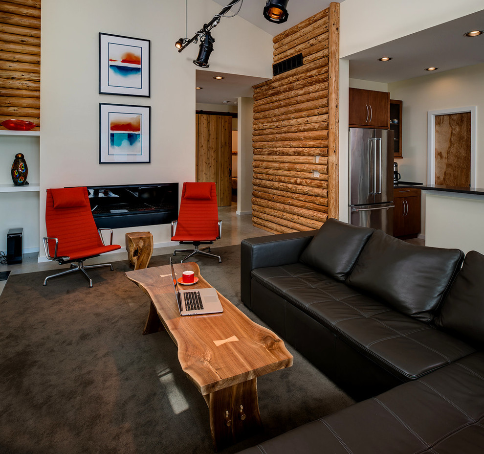 Example of a mountain style open concept carpeted and brown floor family room design in Other with white walls and a ribbon fireplace