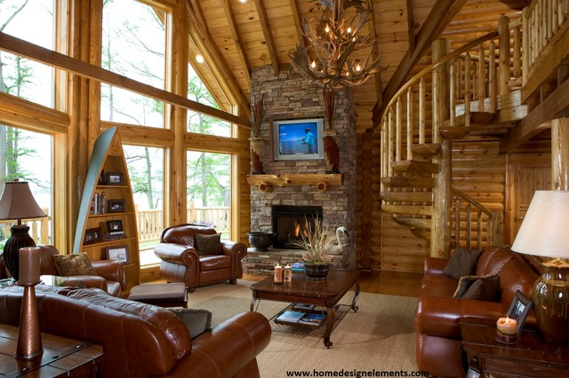 log home caldwell traditional family room other