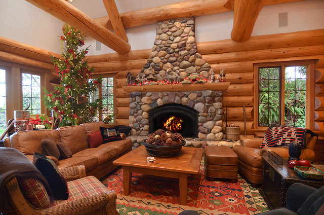 Log Home Dressed For Christmas Rustic Family Room
