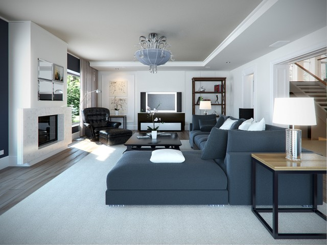 contemporary family room by Lompier Interior Group