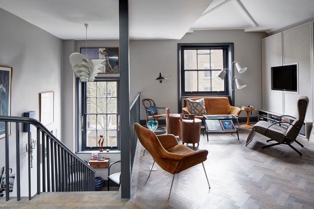 London Loft Apartment transitional-family-room