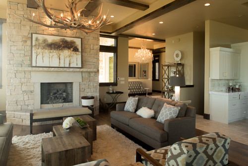antler chandelier in transitional design living room