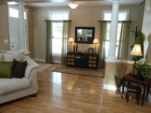 longmeadow open floor plan farmhouse family room - Farmhouse Great Room Plans