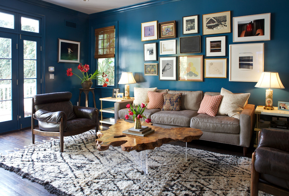 Mid-sized transitional dark wood floor family room photo in Los Angeles with blue walls