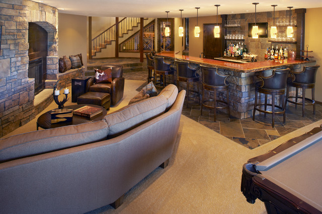 Lower level bar recreation room contemporary family for Basement recreation room ideas