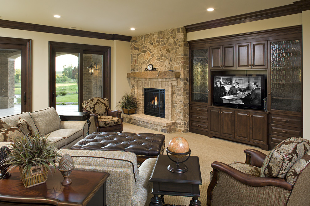 Example of a classic family room design in Minneapolis with a stone fireplace