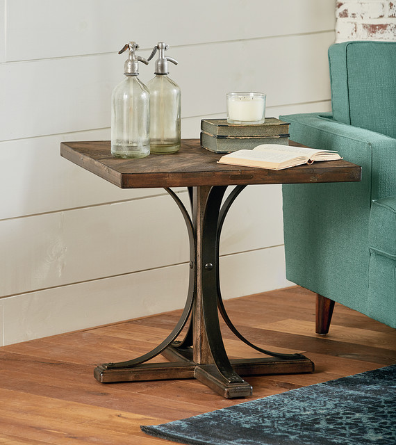 Magnolia Home Iron Trestle End Table Traditional  : traditional family room from www.houzz.com size 570 x 640 jpeg 104kB