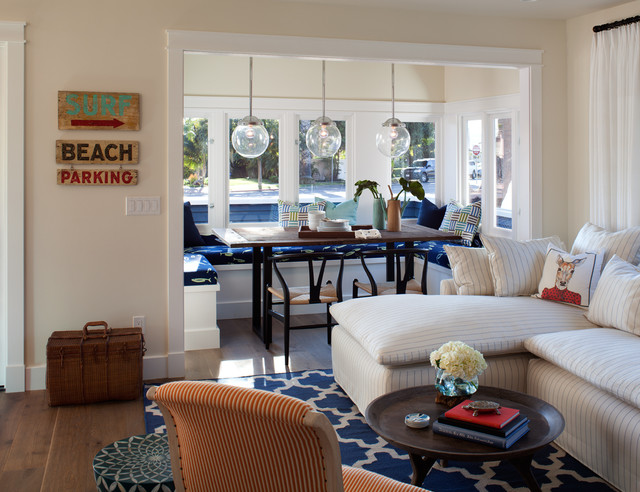 Coastal family room photo in San Diego