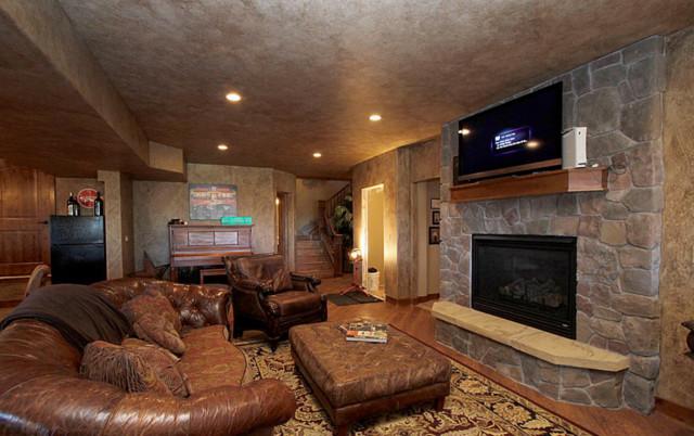 Rustic Man Cave Walls : Man cave and game room rustic family denver