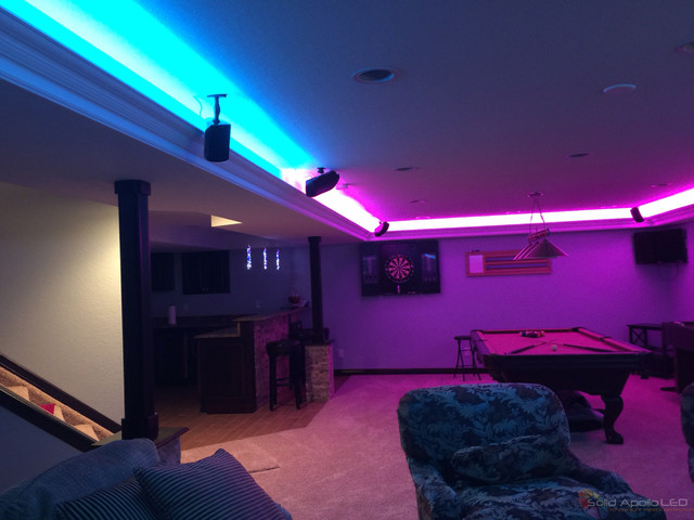 Man cave game room led lighting contemporary family for Room decor led lights
