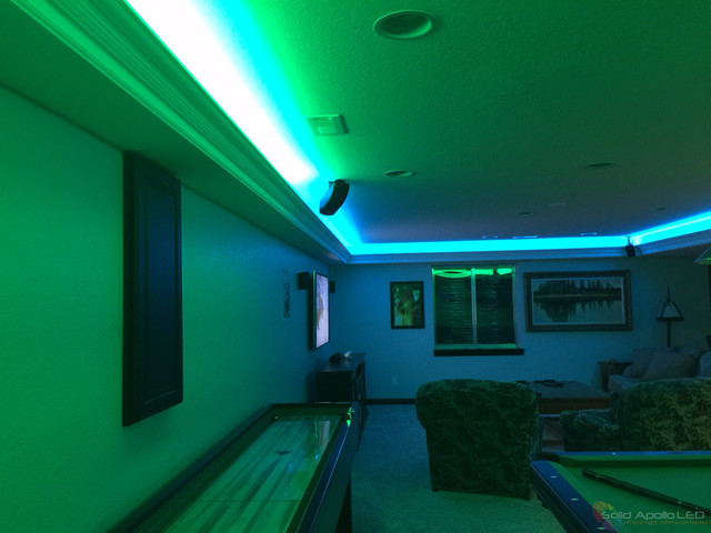 Man Cave Game Room Led Lighting Contemporary Family Room