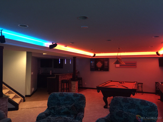 Man Cave Room Led Lighting Contemporary Family And