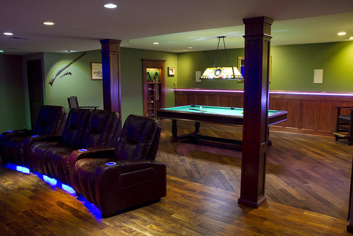 Man Cave with Theater, Pool Table & Bar
