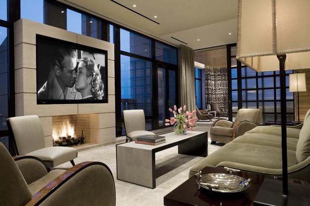 Manhattan Penthouse Transitional Family Room New York By David Scott Parker Architects Llc