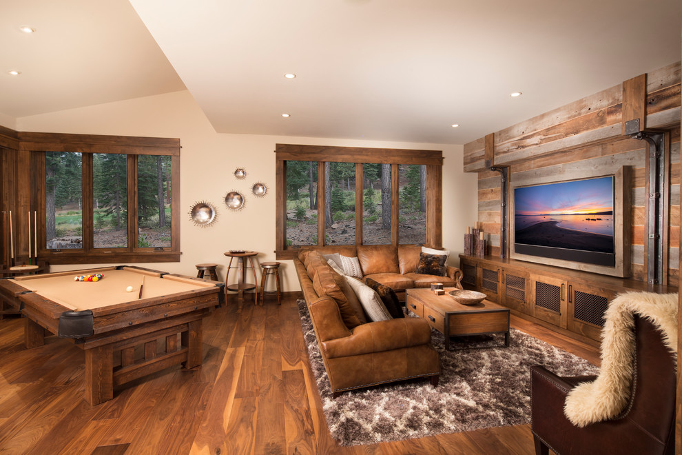 Mountain style dark wood floor family room photo in Sacramento with beige walls and a wall-mounted tv