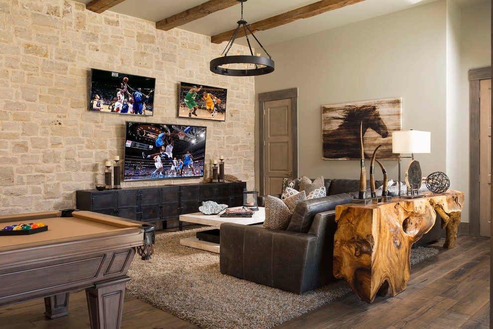 Mountain style dark wood floor and brown floor family room photo in Dallas with beige walls, no fireplace and a wall-mounted tv
