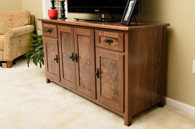 Media Console Cabinet Traditional Family Room