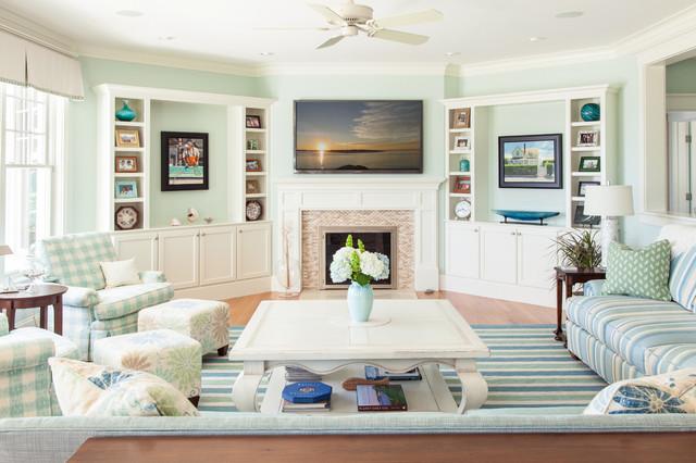 Family room - beach style family room idea in Boston