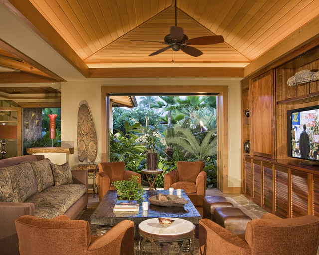 Media Room Tropical Family Room Hawaii By Saint