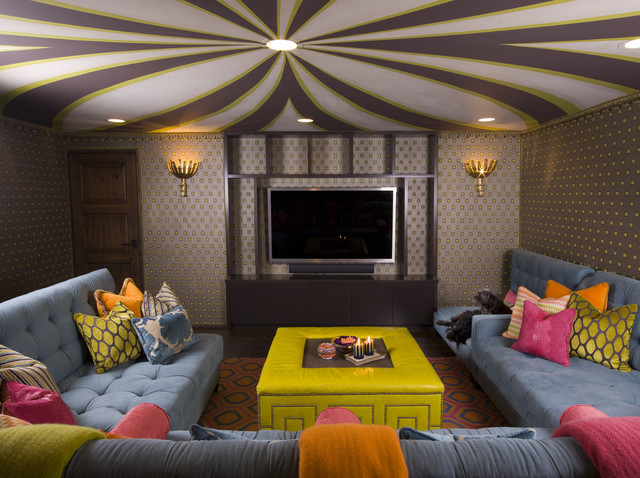 eclectic media room by SoCal Contractor
