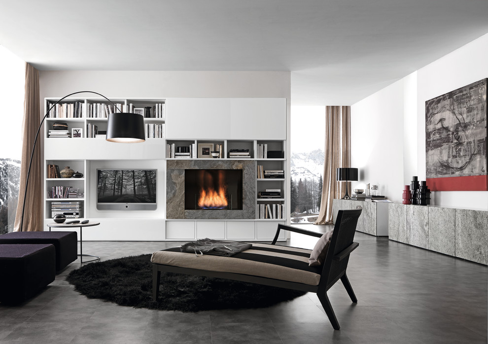 Inspiration for a modern open concept family room remodel in Philadelphia with white walls, a media wall and a ribbon fireplace