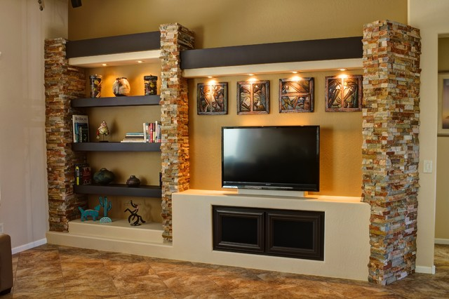 Inspiration For A Mid Sized Contemporary Open Concept Family Room In Phoenix With Brown Walls