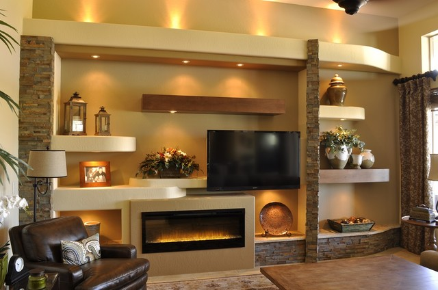 Example Of A Large Trendy Open Concept Light Wood Floor And Brown Family Room Design