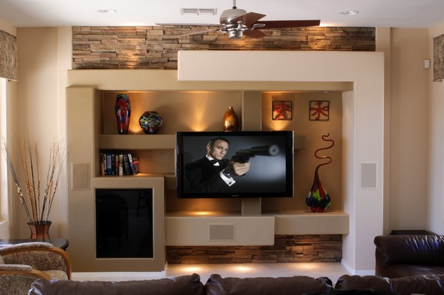 media wall 5 contemporary family room - Media Wall Design